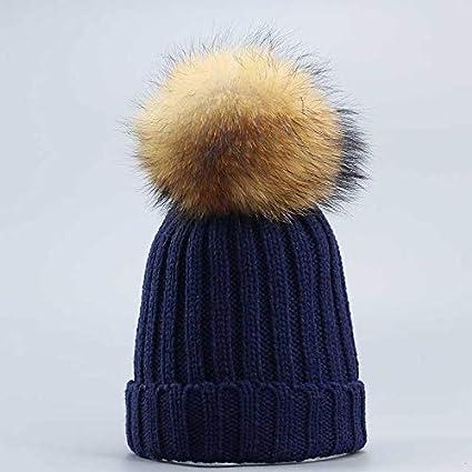 HAOLIEQUAN Sombreros para Mujer Moda Invierno Sombrero Pom Sombrero para Mujeres Sombrero De Mujer Gruesa Gorros