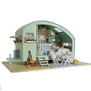 41miYzH8IVL. SS300 Puppenhaus Süß Haus DIY House mit Licht als Kinder Geschenk, 3D Holz Miniaturhaus Kit Kunsthandwerk Geschenk für…