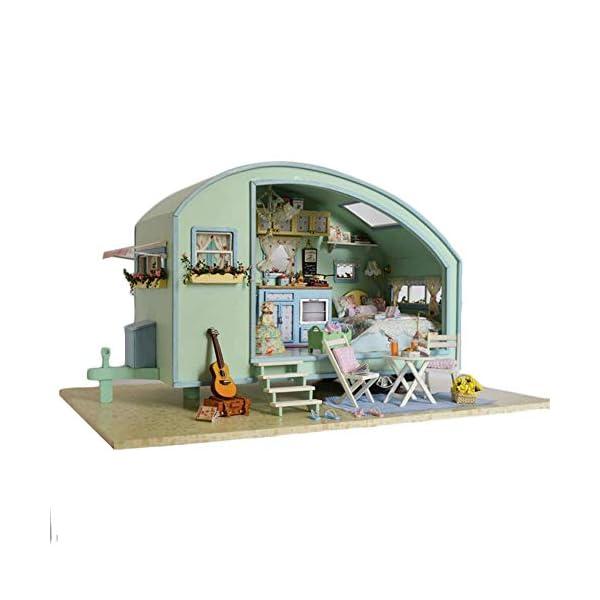 41miYzH8IVL Puppenhaus Süß Haus DIY House mit Licht als Kinder Geschenk, 3D Holz Miniaturhaus Kit Kunsthandwerk Geschenk für…