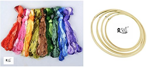 2500 Silk Art 100% Handmade Bamboo Embroidery Hoop 4 Pieces /lot CXQ001 and Silk Threads 50 Colors 336 feet