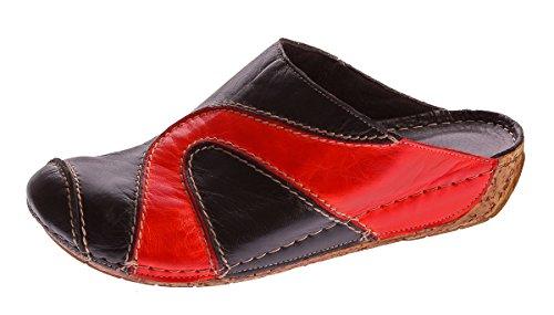 Signore Muli Danno Appuntamento Genuino Gemini Pelle Nappa Zoccoli Sandali Scarpe Pantofola Gr. 37 - 41 Nero-rosso