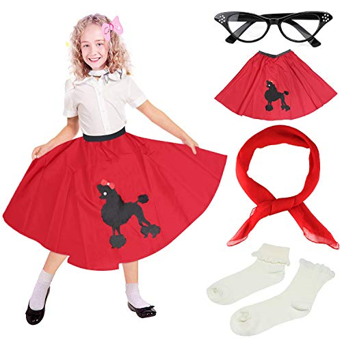 Beelittle 4 Pieces 50s Girls Costume Accessories Set - Vintage Poodle Skirt, Chiffon Scarf, Cat Eye Glasses, Bobby Socks (E-Red)