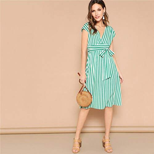 Goldentee Mixed Striped Belted Midi Dress Women Summer Casual High Waist Batwing Sleeve A-Line Dresses Turquoise