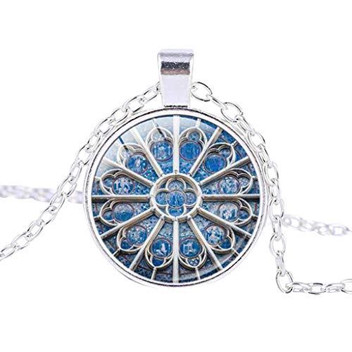 (Necklace Retro Notre Dame de Paris Sterling Silver Coin Pendant Necklace Chainn Rose Window Stained Glass de Paris Cathedral Pendant Chain (CJ))