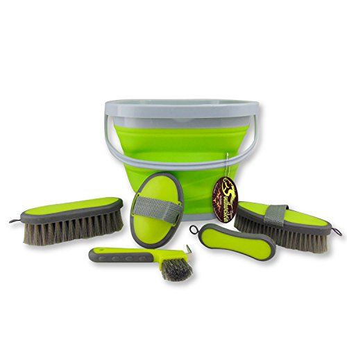 Southwestern Equine Collapsible Grooming Kit 10 Liter Bucket and 5 Grooming Tools By (Lime Green)