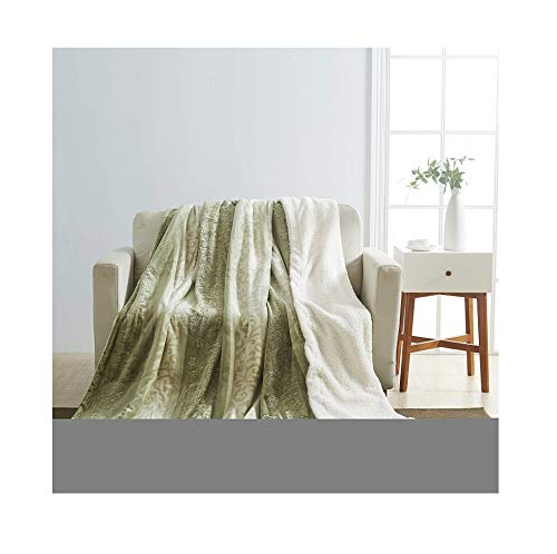 All American Collection New Embossed Throw Blanket with Sherpa/Borrego Backing Queen/King Size -