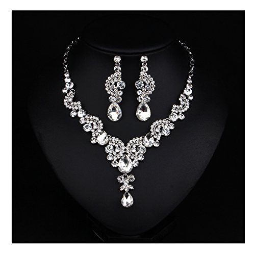 Crystal Costume Jewelry (Hamer Costume jewelry Fashion Crystal Choker Pendant Statement Chain Charm Necklace and Earrings Sets Women (White))