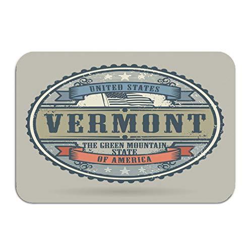 (qilifz Outside Shoe Non-Slip Color Dot Doormat Vintage Stamp Label Text United States America Vermont Vintage Stamp Text United Mats Entrance Rugs Carpet 16 24 inch)