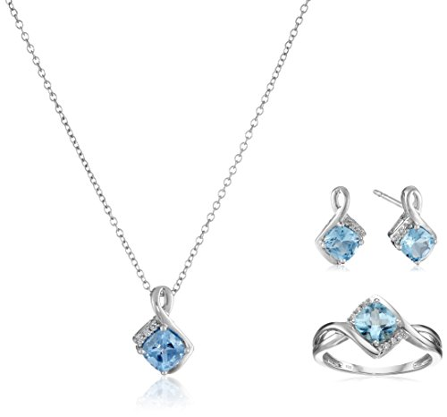 Sterling Silver Swiss Blue Topaz Cushion with Created White Sapphire Box Set (Necklace 18'', Ring Size 7) by Amazon Collection