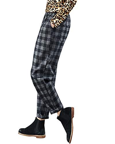 Plaid Grigio Donna Bigassets Pantaloni Casual Elastica Vita Lana Di Harem BFBtSqw