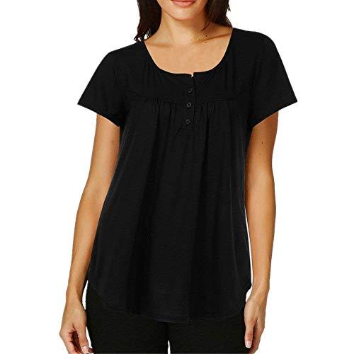 Button Shirt Dame T Courtes Branch Shirts T Et Manches Mode Rond Col Irrgulier Casual Uni Battercake Plier Femme Noir Haut Manche Tops lgant 50wPqCf