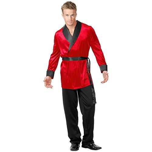 [Red Velvet Smoking Jacket Adult Costume - Medium] (Plus Size Costumes Rental)