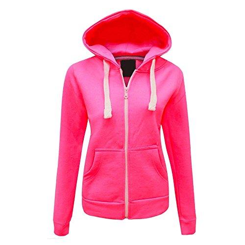 Ladies Plain color sudadera con capucha (UK 8–�?2) rosa neón