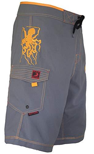 Maui Rippers Men's Board Shorts - Octo Tako | Triple Stitch Quick Dry Men's Swim Trunks (30, Grey)