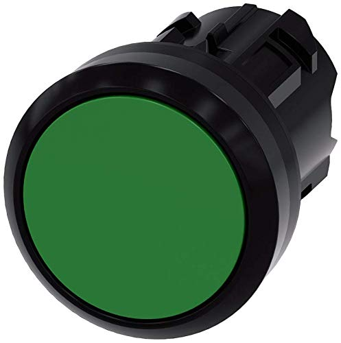 Siemens 3SU10000AB400AA0 Pushbutton, Plastic, IP66, IP67, IP69K Protection Rating, Black Plastic, 22mm, Green