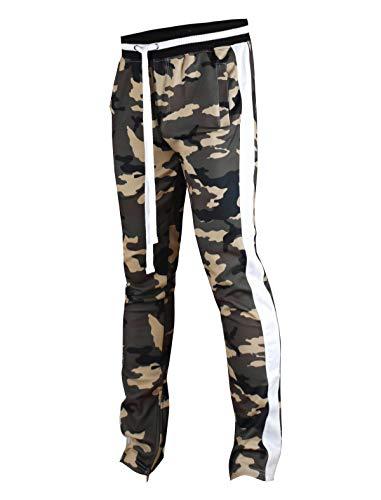 (SCREENSHOTBRAND-P41902 Mens Hip Hop Premium Slim Fit Track Pants - Athletic Jogger Camo Pattern Print Taping Bottoms-Woodland-Medium)