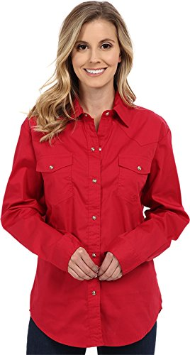 Roper Women's Amarillo Solid Pearl Snap Western Shirt Red Medium