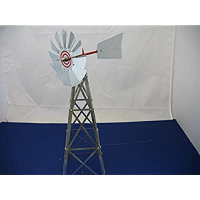 Mini 17 Inch Made in the USA Windmill-galvanized Steel Red Trim - Plain Tail : Wind Sculptures : Garden & Outdoor
