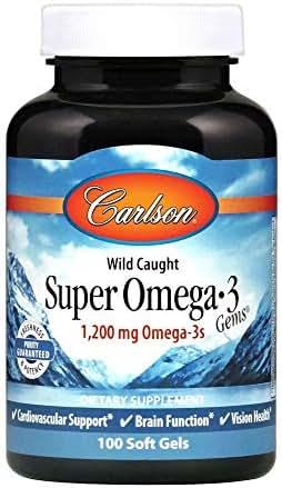 Carlson Super Omega-3 Gems, Norwegian, 1,200 mg Omega-3s, 100 Soft Gels