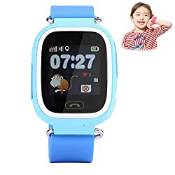 Children Gps Tracker Watch, Wifi Touch Screen Smart Watches Precise Positioning Remote Monitor With Voice Chatting Sim Card Slot Pedometer For Kids Safty & Sos Smartphone Christmas Gift(blue)