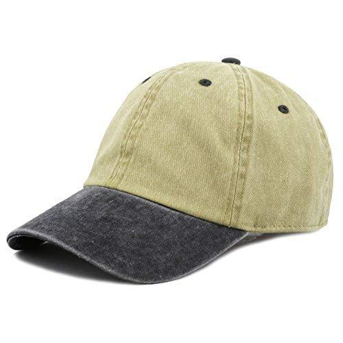 - The Hat Depot Cotton Pigment Dyed Low Profile Six Panel Cap (Khaki Black)