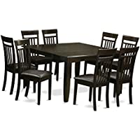 East West Furniture PFCA9-CAP-LC 9-Piece Dining Table Set, Cappuccino Finish