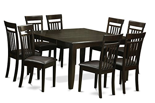 East West Furniture PFCA9-CAP-LC 9 Pc Dining Room Set-Table and 8 Kitchen Chairs, 9-Piece, Cappuccino Finish - Square Corner Table Seating