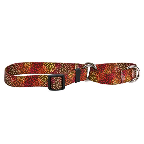 Yellow Dog Design Flower Works Red Martingale Dog Collar 3/4