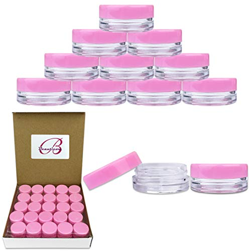 (Beauticom 3G/3ML Round Clear Jars with Pink Lids for Cosmetics, Medication, Lab and Field Research Samples, Beauty and Health Aids - BPA Free (Quantity: 50)
