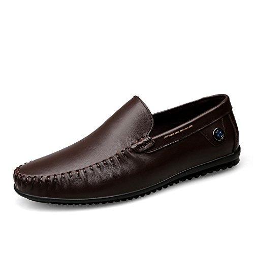 2018 Mocassino di minimalista EU 41 stile guida in slip da tacco shoes uomo Color Mocassino uomo pelle Dimensione Marrone piatto Hongjun vacchetta Mocassino con on Mocassini X8SwFRq4