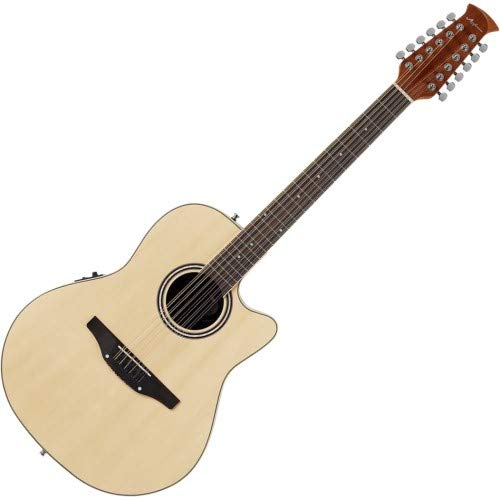 Ovation Applause 12 String Acoustic Guitar, Right, Natural, Mid Depth Body (AB2412II-4)