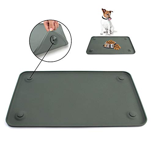 Dog Food Mat, Pet Feeding Mat with Strong Suction Cups – Silicone Waterproof Dog Mat (19x12inches) & (24x16inches), Non-Slip Pet Bowl Mat for Protect Floor