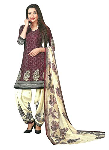 (Ladyline Ready to wear French Crepe Printed Salwar Kameez Suit Indian Pakistani Dress (Size_46/ Wine))