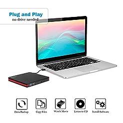 Rioddas External CD Drive, USB 3.0 Portable CD/Dvd +/-Rw Drive Slim Dvd/CD Rom Rewriter Burner For Laptop Desktop Pc Windows 10/8/XP and Linux Os Apple Mac Macbook Pro