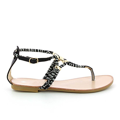 Go Moda - Sandalias planas à cuerda colorido - Mujer Negro - negro