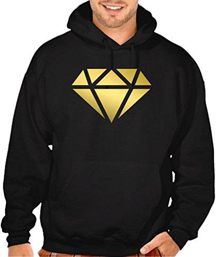 Shiny Gold Diamond Men's Black Pullover Hoodie Sweater Small Black (Black Diamond Pullover)