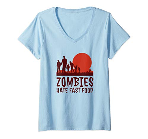 Womens Zombies Hate Fast Food Funny Halloween V-Neck T-Shirt