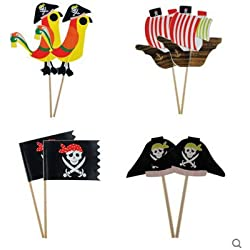 iMagitek 40 Pcs Pirate Cupcake Toppers Decorations for Boy's Birthday Party, Baby Shower, Baby First Birthday Party
