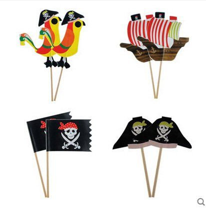 iMagitek 40 Pcs Pirate Cupcake Toppers Decorations for Boy's Birthday Party, Baby Shower, Baby First Birthday Party ()