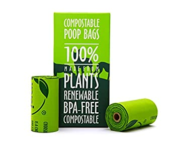 """Unni 100% Compostable Biodegradable Dog Waste Poop Bags, 120 Count, 8 Refill Rolls, Size 9"""" X 13"""", Extra Thick 0.8 Mil, US BPI & European VINCETTE Certificated, Earth Friendly Highest ASTM D6400 Rated"""
