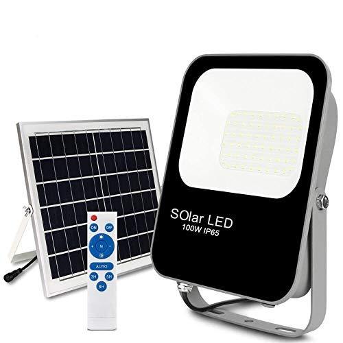 POPP® Nuevo Foco Exterior Solar,lluminacion LED jardin, 6000K IP65 Impermeable,Lampara Solar para Jardin,Garaje,Acera…