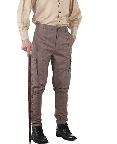 ThePirateDressing Steampunk Victorian Costume Airship Pants Trousers -Checkered (large) -