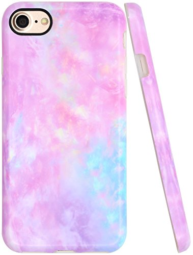 Iphone 8 Case, Iphone 7 Pink Case for Girls, A-Focus Frosted Pastel Gradient Colorful Pink Purple Blue Marble Series Flexible Case for Iphone 7 / Iphone 8 4.7