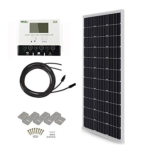 HQST 100 Watt 12 Volt Monocrystalline Solar Panel Kit with 30A Negative-Ground PWM LCD Display Charge Controller ()