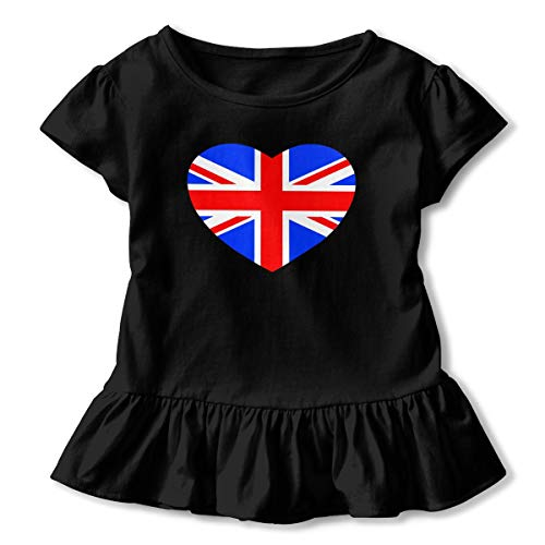 Toddler Girl British Flag in Heart Shape Short Sleeve Dress Ruffle T Shirts Tops Tee Clothes Black -