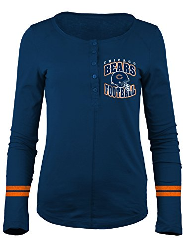Lady Bears - A-Team Apparel NFL Chicago Bears Women's Long Sleeve Scoop Neck Henley Shirt, X-Large, Navy