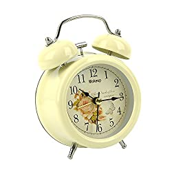 Alarm Clock, Mokeep 3 Inch Small Non-ticking Vintage Classic Bedside /Table Analog Alarm Clock with Backlight , Battery Operated Travel Clock, Round Twin Bell Loud Alarm Clock for kids (Yellow)