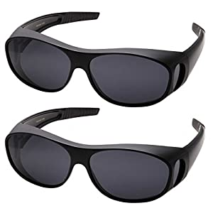 grinderPUNCH Polarized Sunglasses Wear Over Prescription Glasses (2 pcs) Medium, Black