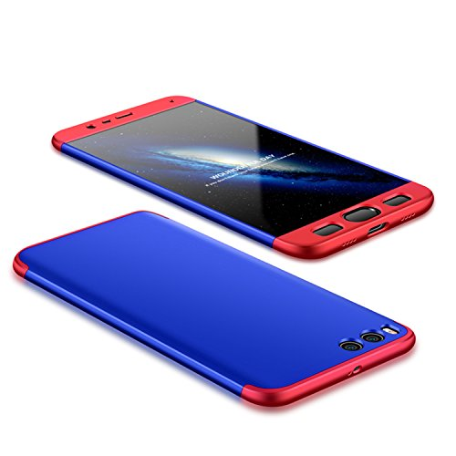 Funda Xiaomi Redmi Note 5A Prime, Hard Xiaomi Redmi Y1 (Note 5A) Funda Case, PLECUPE la moda Ultra Thin Desmontable 3 en 1 Dura PC Plástico Case Cárcasa Caja Cover, Ultra Delgado Fino 360 Grados Integ Rojo + Azul