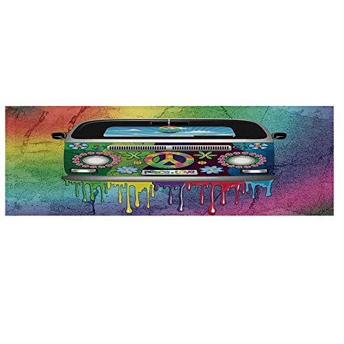 Groovy Decorations Dustproof Electric Oven Cover,Old Style Hippie Van with Dripping Rainbow Paint Mid 60s Youth Revolution Movement Theme Cover for Kitchen,36